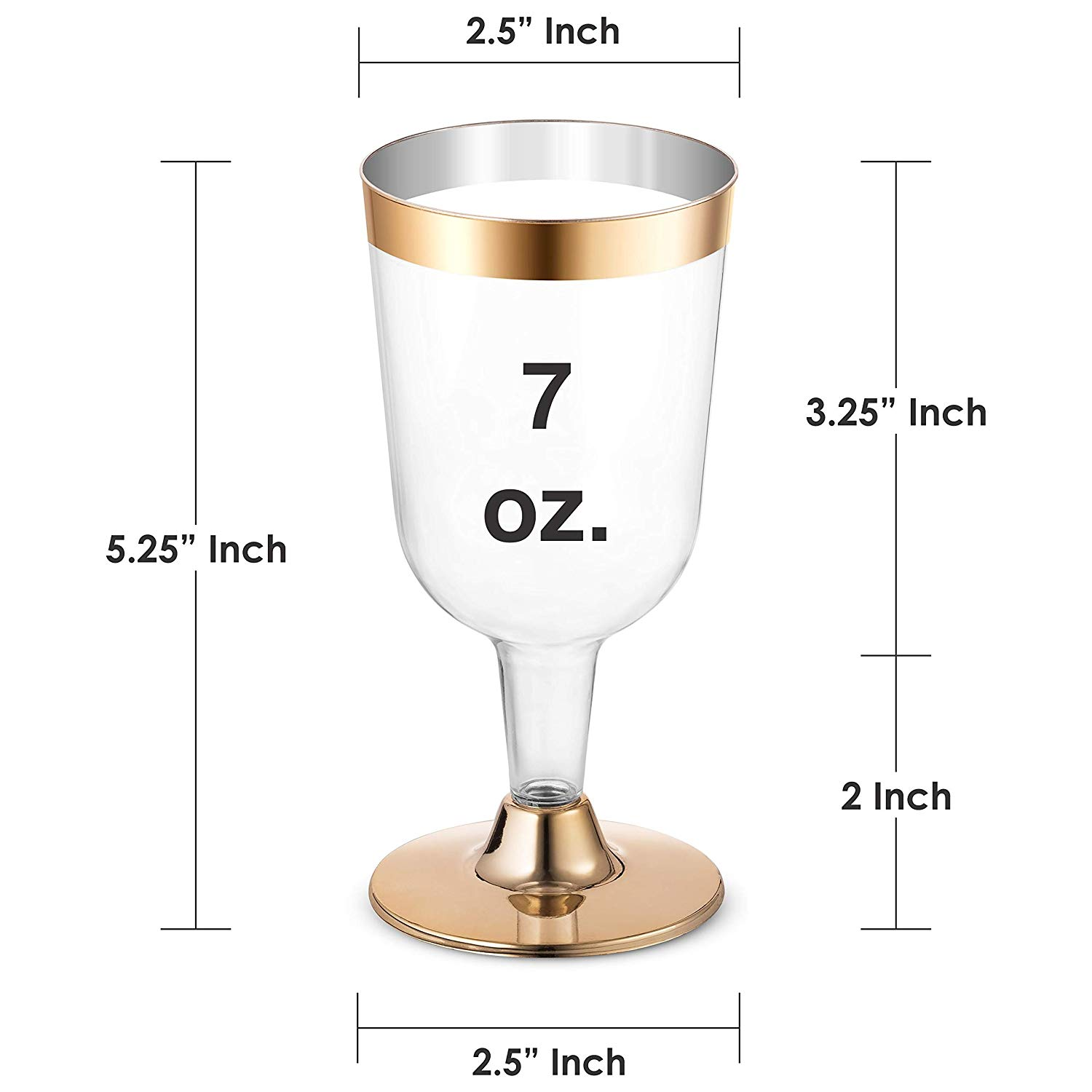 25Pack Party Glass Elegant Cups Gold Wine Clear Durable With Wedding Cups Gold Cups Wine Plastic  Rim Disposable Plastic