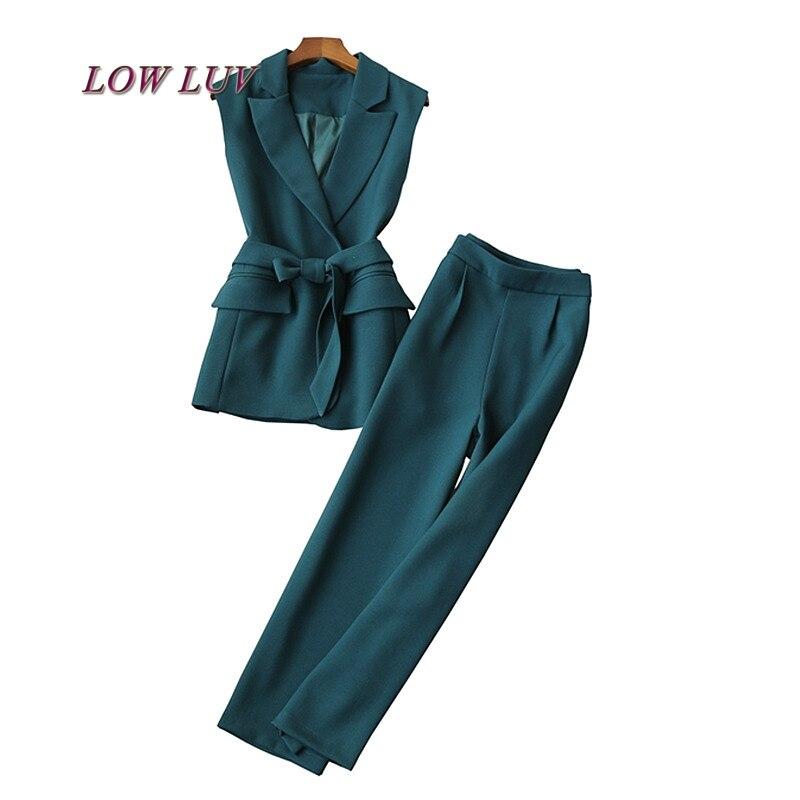 Classique printemps été sans manches femmes cranté costume entreprise tenue de bureau gilet Crop Capri pantalon ensemble dame pantalon