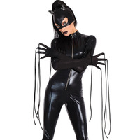 Halloween New Black High Necked Long Sleeved Faux Leather Latex Catsuit Cat Women Cosplay Costume One