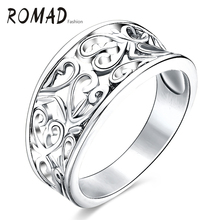 Romad nový styl nerezová ocel dutá srdíčka vzor šarm prsteny pro ženy příležitostné sportovní šperk zlaté šperky
