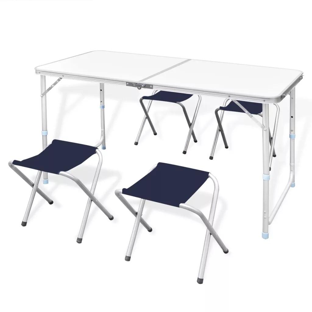 طاولة تخييم قابلة للطي ثابتة ومتينة vidaXL قابلة للتعديل مع 4 مقاعد مناسبة لنزهات المطابخ طاولات خارجية الأثاث -