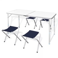 vidaXL Stable And Durable Foldable Camping Table Height Adjustable With 4 Stools Suitable For Kitchens Decks Picnics