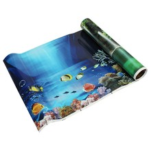 Promotion! Blue Fresh Sea Background Aquarium Ocean Landscape Poster Fish Tank Background(China)