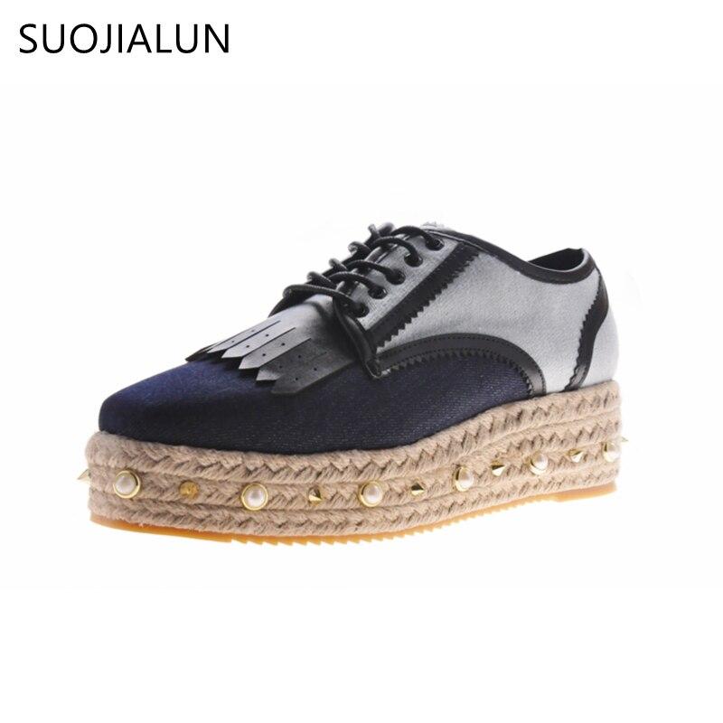 SUOJIALUN 2018 Women Flat Platform Denim Fabric Lace Up Square Toe Footwear Female Flat Straw Suede Rive Shoes For Women