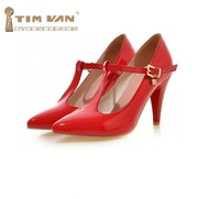 Spring T Buckle New Arrival Dance Shoes Size Thin Heels High Heeled Pointed Toe Fashion Japanned