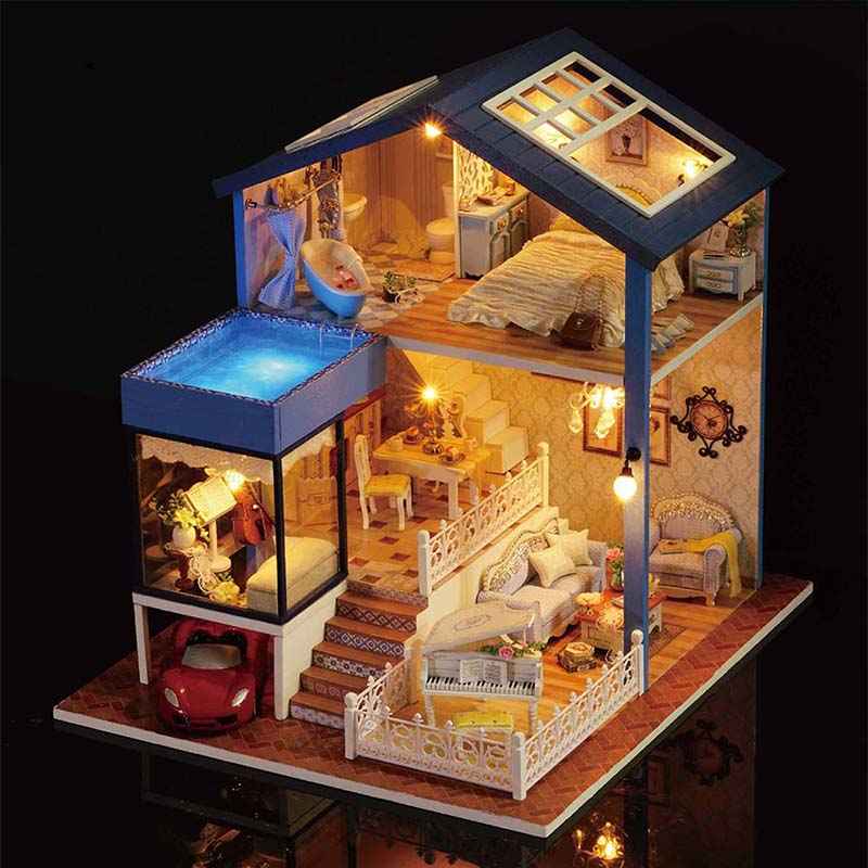 Attractive Wooden DIY DollHouse 3D Miniature Doll House Furniture Kit Lifelike Resin  Luxury Villas Dollhouses With Led Light Best Kids Gift In Doll Houses From  Toys ...