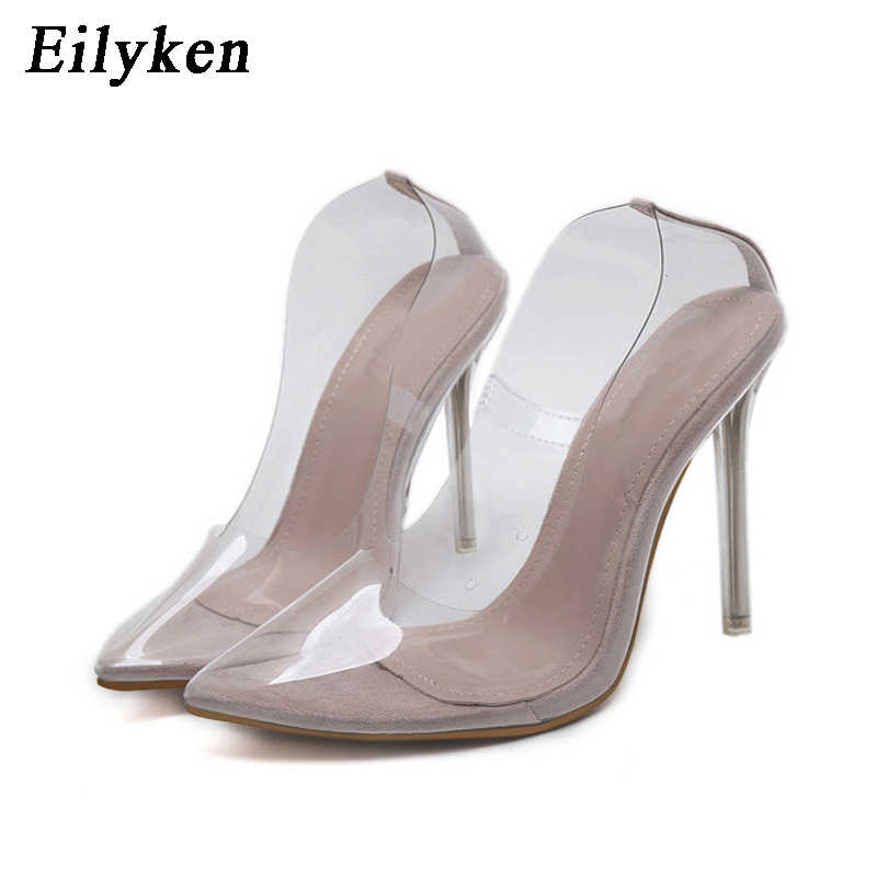 dddab755e ... Eilyken Women Pumps 2019 Transparent Super High Heels Sexy Pointed Toe  Slip-on Wedding Party ...