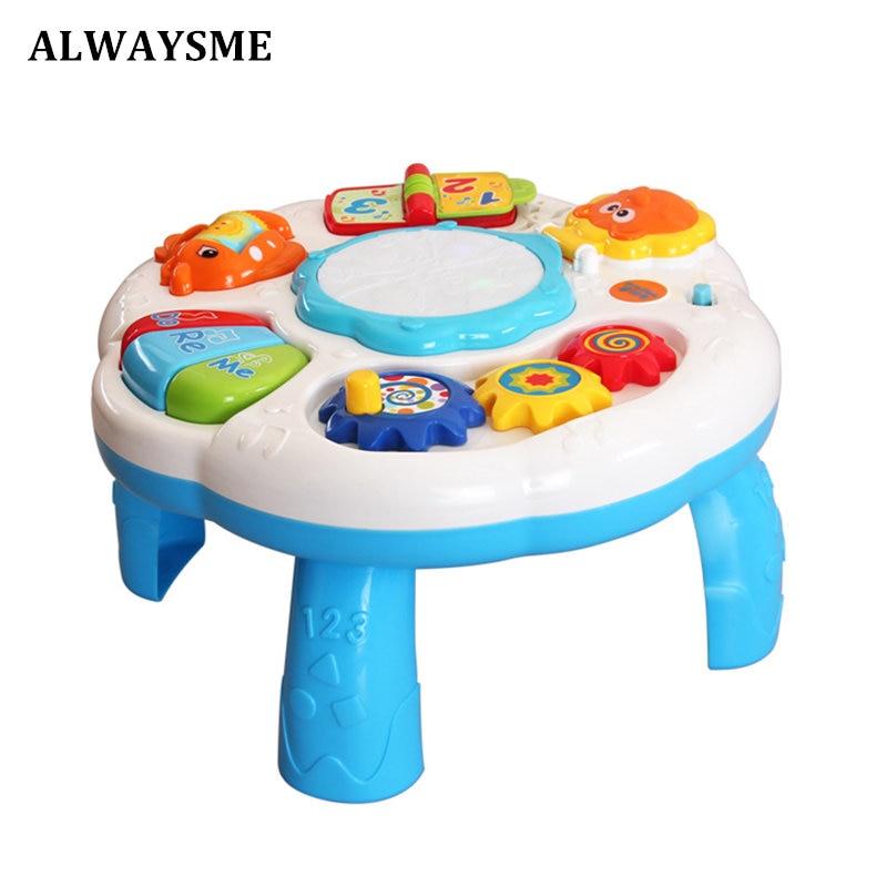 ALWAYSME детские музыкальные игрушки для малышей, Обучающие Настольные Игрушки для малышей с пианино и барабаном, светильник