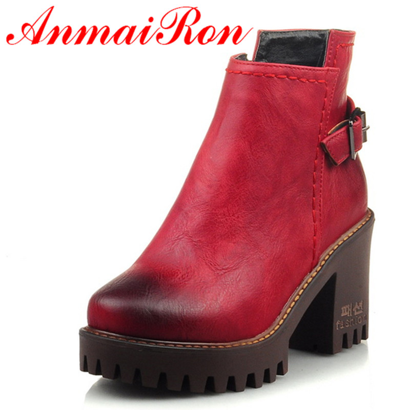 ANMAIRON Fashion Ankle Boots Women Round Toe Winter Warm Boots Platform Shoes Autumn/Winter Boots Square Heel Black Red 4Colors цены онлайн