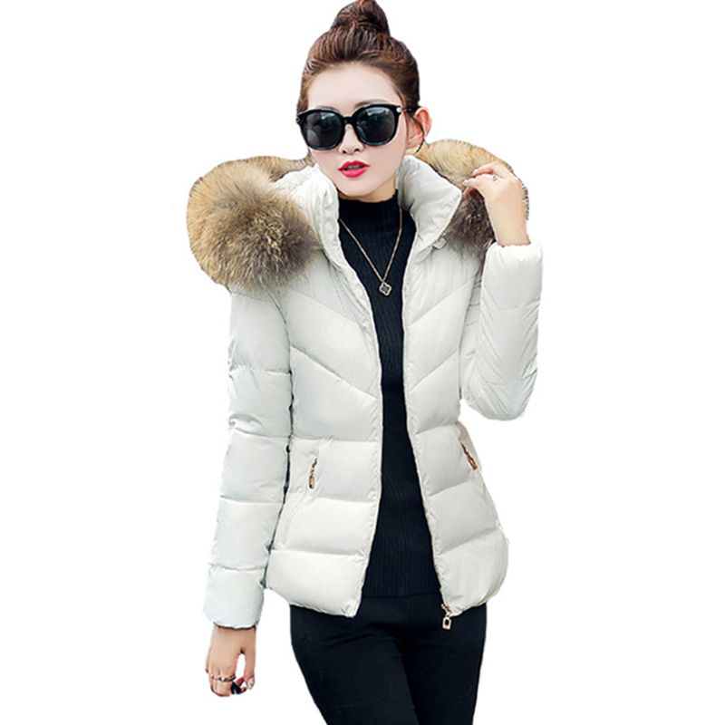 Women Down Cotton Jacket 2017 New Detachable Fur Collar Hooded Down Cotton Winter Coat Solid Warm Feather Outerwear Coats FP0091 2016 winter jacket women down coat fur hooded vest down coats vest pant underwear women s suit thicken set outerwear trousers