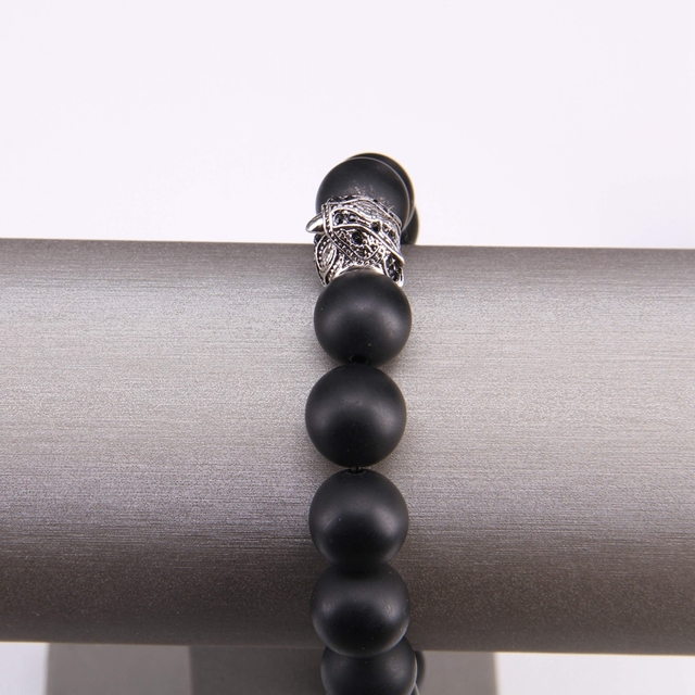 Большой Матовый обсидиановый браслет в стиле Томаса с черным