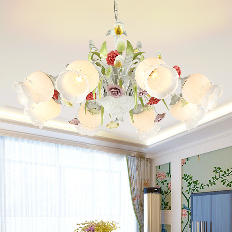 Lights & Lighting Modern Led American Garden Flower Chandelier Living Room Exquisite Carved Ceramic Lighting Restaurant Wrought Iron Pendant Lamps Chandeliers