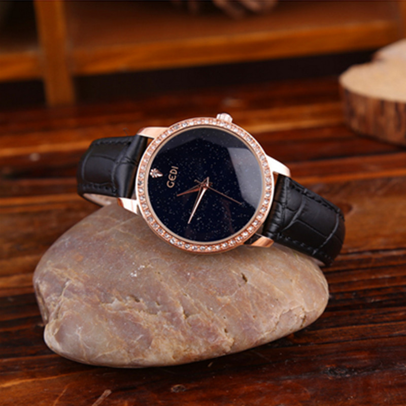 Casual Quartz Wristwatch Diamond Elegant Ladies Leather Watches Women Ladies Dress Watches Alloy Case Gift for Ladies Luxury in Women 39 s Watches from Watches
