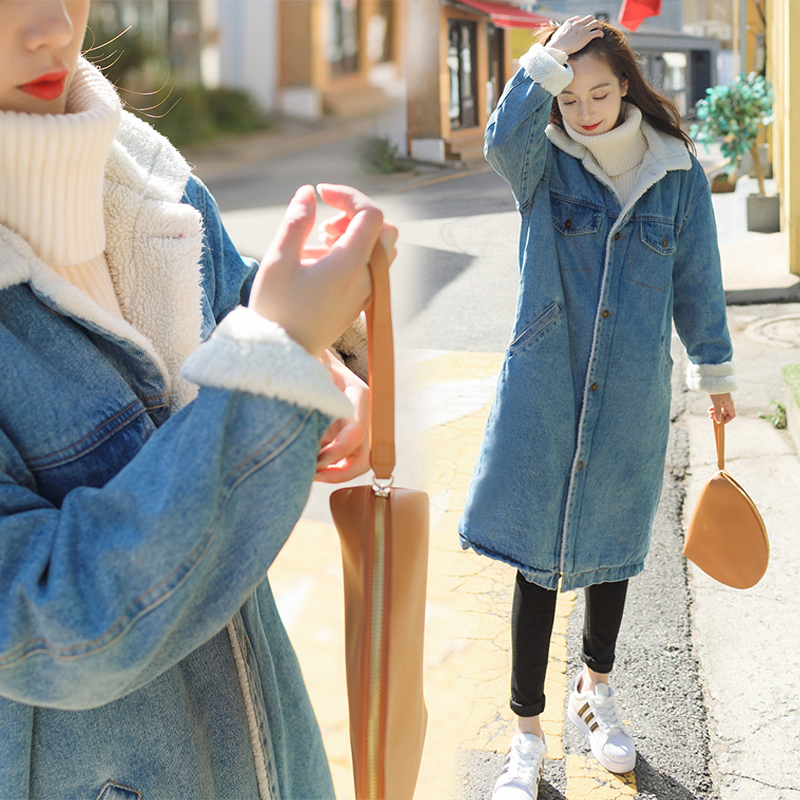 2017 New Wide-waisted Thick Lamb Cashmere Liner Loose Korean Cowboy Denim Jacket Long Parkas Mujer Plus Size Winter Coat Women
