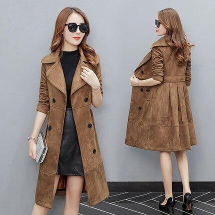 AYUNSUE Elegant Fashion Windbreaker Women Long Jacket 2018 Korean Double  Breasted Overcoat Suede Female Spring Coats Tops LX1450-in Trench from  Women s ... de88caa31