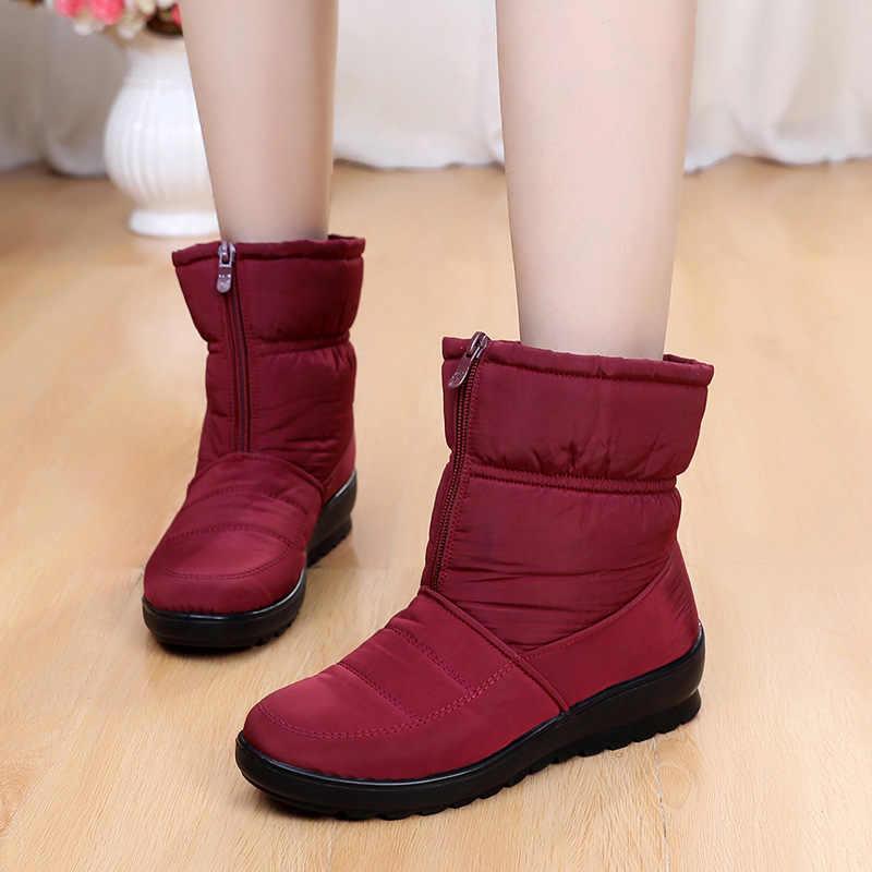 Kadın kar botları sıcak kürk kadın kış çizmeler su geçirmez kadın botları anne kadın patik artı kadife ayak bileği çizmeler kadın ayakkabıları