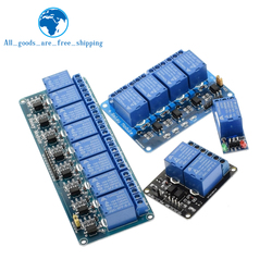 TZT 5v 12v 1 2 4 6 8 módulo de relé de canal con salida de relé de optoacoplador 1 2 4 6 módulo de relé de 8 vías para arduino en stock