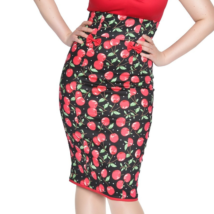 fbf208d7a4a 25 women vintage 50s vanya cherry bow high waist wiggle midi pencil skirt  plus size 4xl saia pin up girl fitted skirts jupe-in Skirts from Women s  Clothing ...