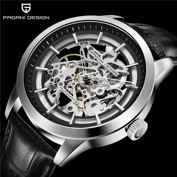 PAGANI DESIGN Luxury Mens Business Mechanical Watch Leather Skeleton Hollow Clock Waterproof Mens Automatic Mechanical Watch2019