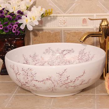 Plum kwiat malarstwo toaletki łazienkowe chiński Art Counter Top ceramiczna antyczne umywalka tanie i dobre opinie Szampon umywalki Ociekaczem 0144 Blat umywalki Jeden otwór Ręcznie malowane ROUND JINGYILE as show picture porcelain L420*W420*H160mm