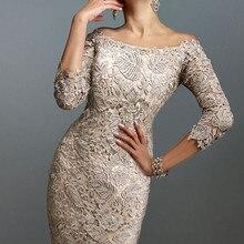 Элегантные платья для матери невесты, облегающее кружевное платье с рукавами 3/4 размера плюс, Короткое свадебное вечернее платье, свадебные платья для мамы
