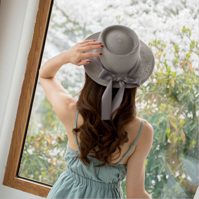 Ymsaid New Summer Sun Hats Women Fashion Girl Straw Hat  Ribbon Bow Beach Hat Casual Straw Flat Top Panama Hat Bone Feminino 2
