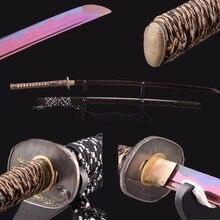 Shijian Swords 2017 Newly Purple Blade Katana Manganese Steel Wave Hamon Full Tang Sharp Japanese Samurai Sword Cutting Practice
