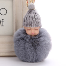 все цены на 2017 Cute pompom keychain Sleeping Baby key chain fluffy fake rabbit fur ball women car bag pompon key ring pom pom holder Gift онлайн