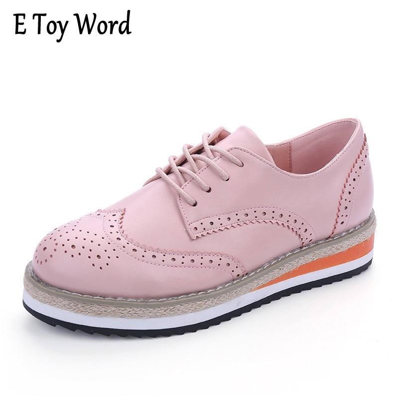 Brogue Shoes Woman Candy Colors Platform Women Oxfords British Style Creepers Cut Outs Flat Casual Women