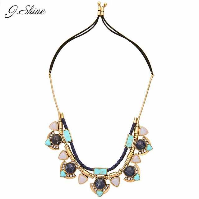 Latest Synethetic Stone Necklace New Brand Adjustable Necklaces & Pendants Choker Necklace Women 2016 Alloy Vintage Jewelry