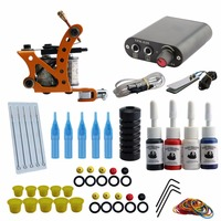 Complete Tattoo Kit Tattoo Machine Set Tatttoo Rotary Machine Gun Power Supply Needles Kit Supplies 4