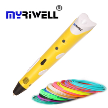 1nd Myriwell pluma modelo 3d 1.75mm ABS 3D Smart Pen Diseño Dibujo Pen + Adaptador Regalo Creativo Para Los Niños alto qualit PaintingPrinting