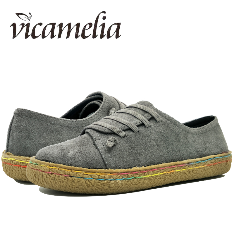 Vicamelia Women Loafers Lace Up Slip on Women Flats Shoes Round Toe 2018 Fashion Spring Women Casual Shoes Moccasins Female 034 women round toe flower ladies beautiful flats shoes green fashion rubber sole applique loafers walking slip on embellished 2017