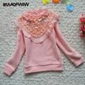 2016 Winter New Girls Turtleneck Plus velvet Thicken Bottom Shirts 100% Cotton Lace long sleeve T shirt Basic Sweater