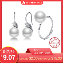 ORSA JEWELS 925 Sterling Silver Women Dangle Earrings+Ring Top Simulated Pearl Adjustable Rings Wedding Silver Jewelry Set OSS28(China)