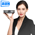 AUN MINI proyector D8S contra salpicaduras y bandeja para viruta, lámina de acero 1280mm para 720P Android 6,0 (2G + 16G) WIFI Batería de 12000 mAH, beamer 3D portátil. Soporte 4K para cine en casa