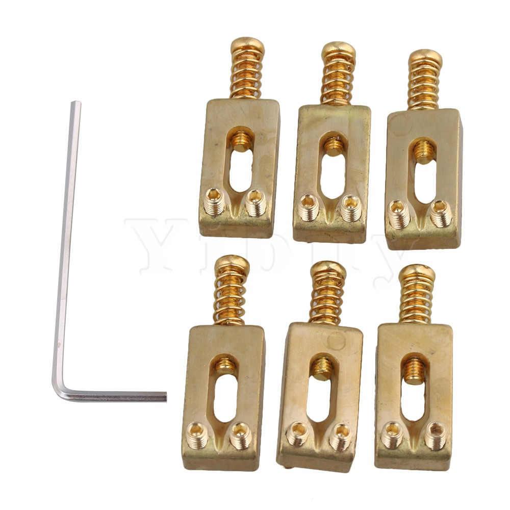 Yibuy 30x10x6mm Brass Gold Color Brass Saddle String Guitar Bridge with Wrench for Electric Guitar Pack of 6 mini handheld 17 6 string electric guitar toy random color 2 aa