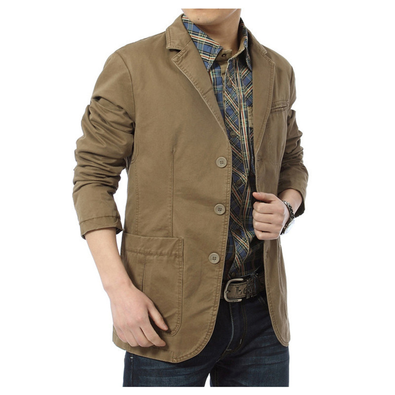 NIANJEEP 2019 New Autumn Casual Blazers Men Cotton Deinm Casual Suits Jackets Military Army Green Khaki  Big Size M -XXXXL A0287