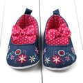 Baby Girls Toddler Bowknot Canvas Princess Soft Sole Crib Shoes Prewalker 0-12M