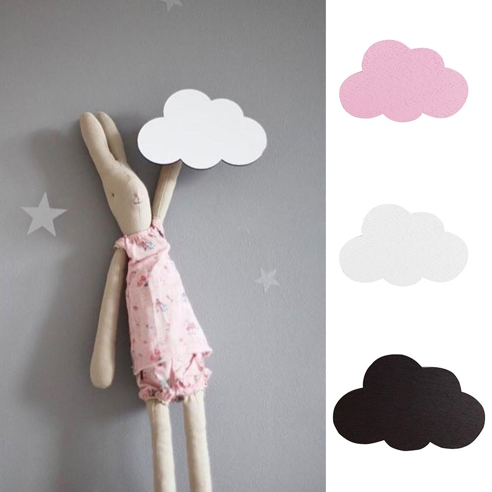 1 Pc Nordic Style Cartoon Cloud Kids Room Wooden Sticker Wall Hanging Hook Wall decoration Home Decor day dress