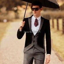 Custom Made Groom Tuxedos Best man Groomsman Suit 2016 New Men Wedding Suits Bridegroom Black with