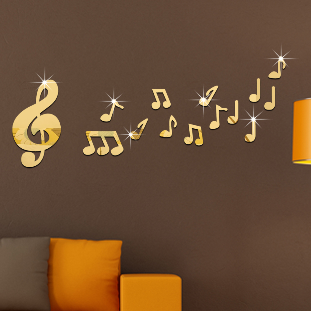 popular musical note wall stickers buy cheap musical note wall 4 colors 3d creative musical notes mirror wall stickers early learning for classroom decoration 50x90cm