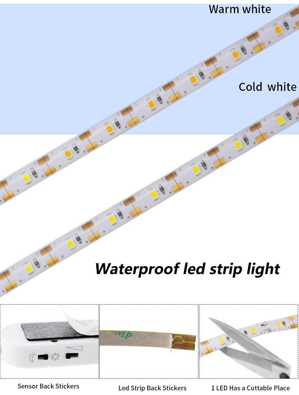 Движения PIR Сенсор Светодиодные ленты light 2835 DC 5 V полосы с Батарея коробка водонепроницаемый кровать шкаф Light 1 м 2 м 3 м Светодиодные ленты