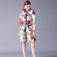 Women Trench Coat 2018 High Quality Autumn Runway Long Sleeve Gorgeous Rose Buttons Print Jacquard Coats Women Jackets NPCT020