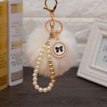 rex rabbit fur ball pompom keychains novelty trinket keyring holder for women bag