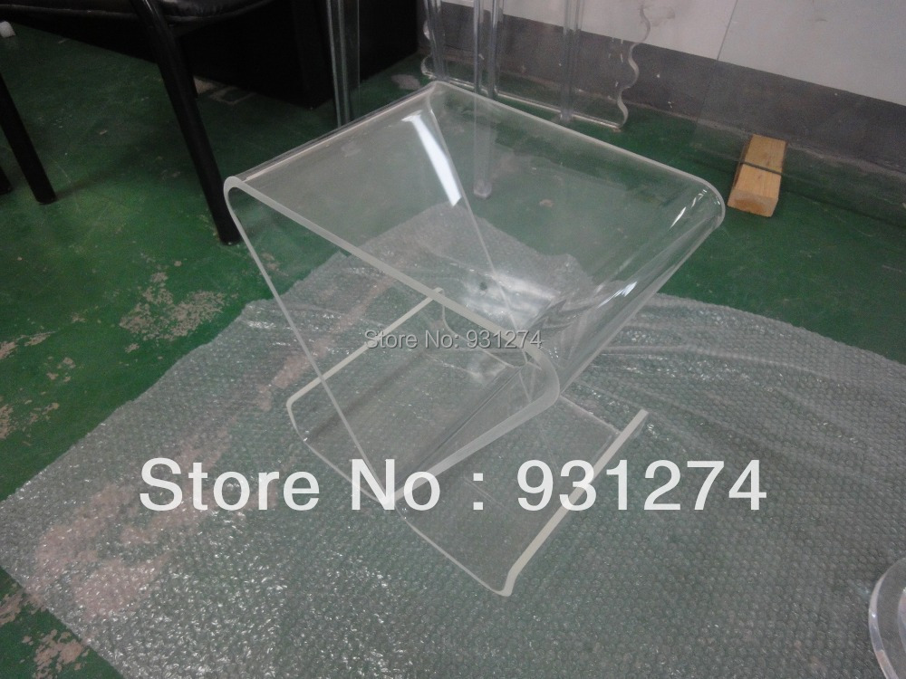 Clear Acrylic coffee tea table with magazine rack,Perspex small sofa tables hollowed acrylic book magazine coffee tea table lucite plexiglass engraved side end sofa corner tables one lux