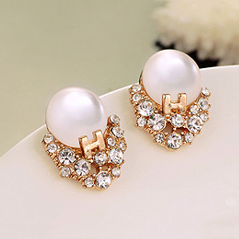 Round Clear Opal Stone Crystal Surrounding Golden Letter Women Stud Earrings ...