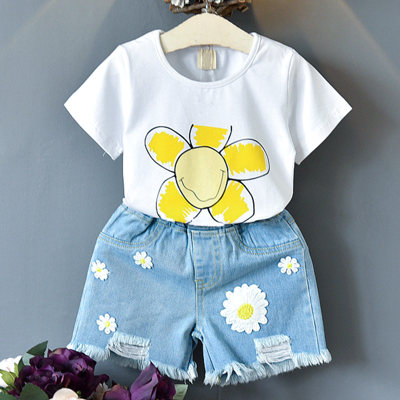 Clothing Sets  Girls Clothing New Letter Flower Pattern Short Sleeve + Denim Shorts Girls Outfits
