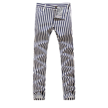 2016 НОВЫЙ Мужчины полосатый хлопок и белье Ночные Клубы брюки, Известный Бренд Мода повседневная брюки Мужчины, плюс размер 28-38