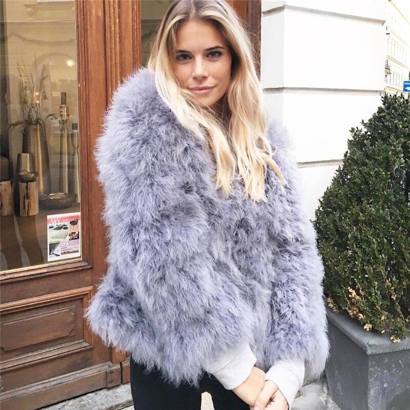 100% vestes de fourrure de fièvre de plume moelleuse faites à la main tricoté véritable manteau de fourrure d'autruche femmes vente au détail en gros gris fourrure moelleuse fièvre - 2